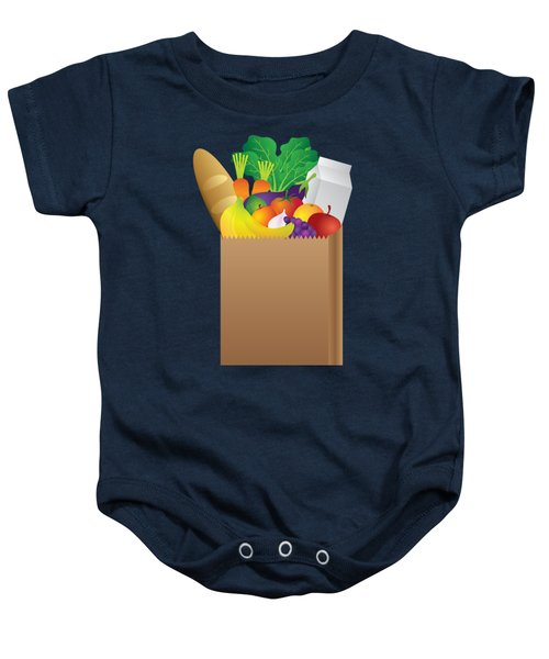 Grocery Paper Bag Of Food Illustration Baby Onesie by Jit Lim