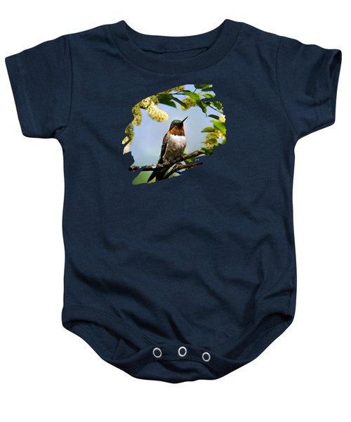 Hummingbird With Flowers Baby Onesie by Christina Rollo