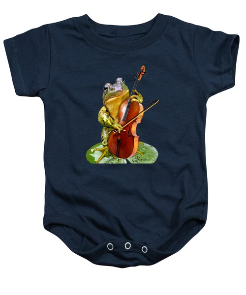 Humorous Scene Frog Playing Cello In Lily Pond Baby Onesie by Regina Femrite