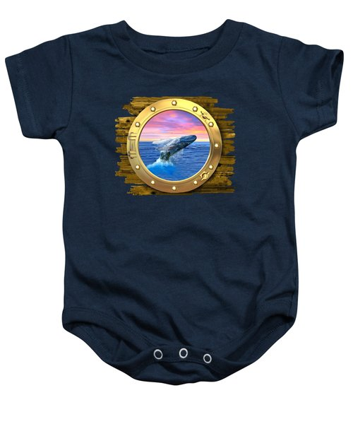 Humpback Whale Breaching At Sunset Baby Onesie by Glenn Holbrook