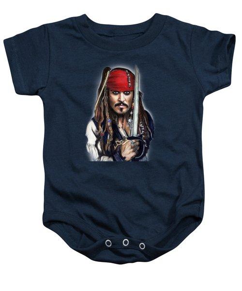 Johnny Depp As Jack Sparrow Baby Onesie by Melanie D