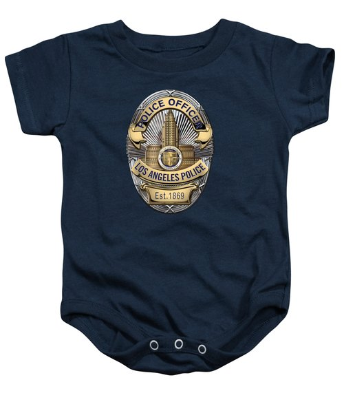 Los Angeles Police Department  -  L A P D  Police Officer Badge Over Blue Velvet Baby Onesie by Serge Averbukh