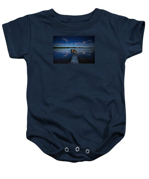 Midnight At Shady Shore On Moose Lake Minnesota Baby Onesie by Alex Blondeau