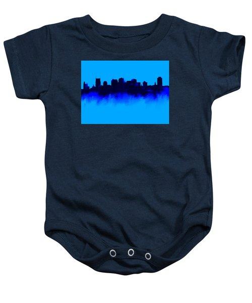 Nashville  Skyline Blue  Baby Onesie by Enki Art