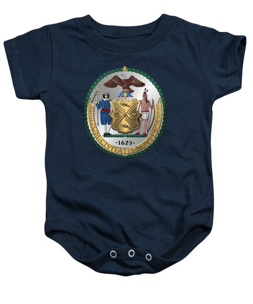 New York City Coat Of Arms - City Of New York Seal Over Blue Velvet Baby Onesie by Serge Averbukh