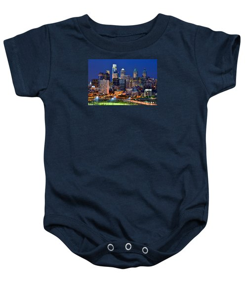 Philadelphia Skyline At Night Baby Onesie by Jon Holiday