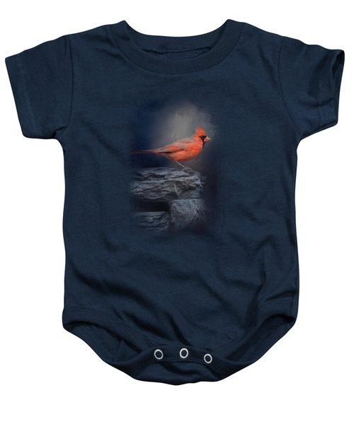 Redbird On The Rocks Baby Onesie by Jai Johnson