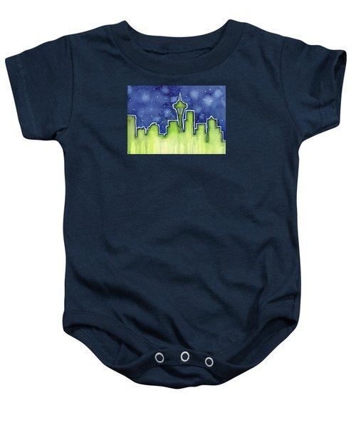 Seattle Night Sky Watercolor Baby Onesie by Olga Shvartsur