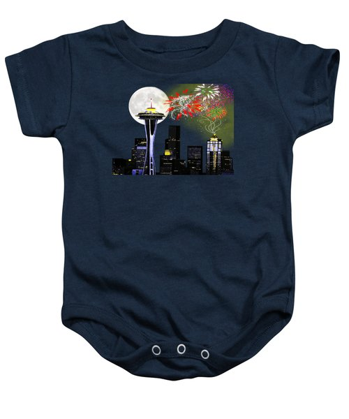 Seattle Skyline Baby Onesie by Methune Hively