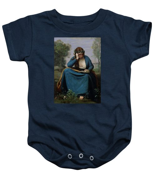 The Reader Crowned With Flowers Baby Onesie by Jean Baptiste Camille Corot