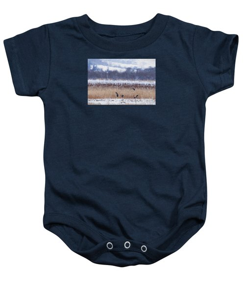 Winter Lapwings Baby Onesie by Liz Leyden