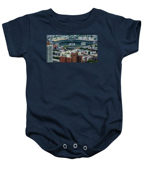 Wrigley Field Park Place Towers During The Day Dsc4743 Baby Onesie by Raymond Kunst