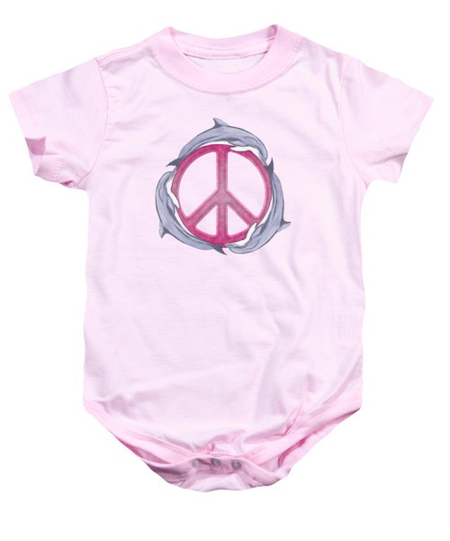 Dolphin Peace Pink Baby Onesie by Chris MacDonald