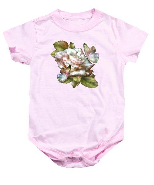Antique Rose And Butterflies Baby Onesie by Carol Cavalaris