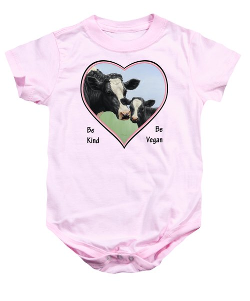 Holstein Cow And Calf Pink Heart Vegan Baby Onesie by Crista Forest