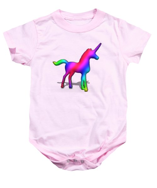 Colourful Unicorn In 3d Baby Onesie by Ilan Rosen