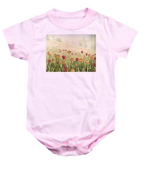 Field Of Tulips Baby Onesie by Kayla Jimenez