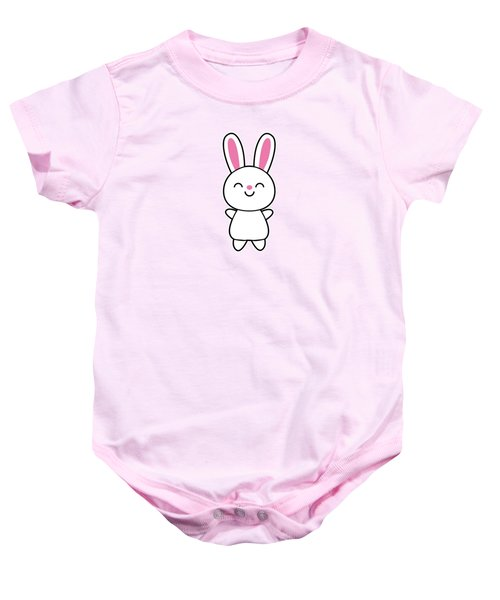 Funny Cute Rabbit Bunny In Pink Baby Onesie by Philipp Rietz