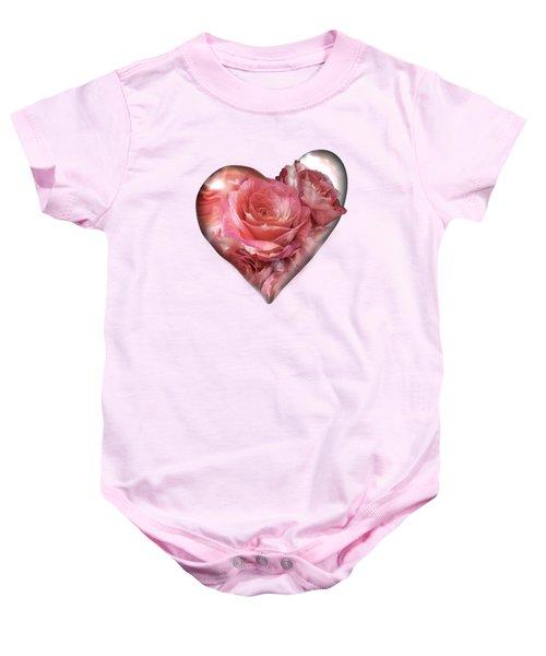 Heart Of A Rose - Melon Peach Baby Onesie by Carol Cavalaris
