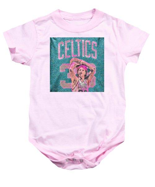 Larry Bird Boston Celtics Digital Painting Pink Baby Onesie by David Haskett
