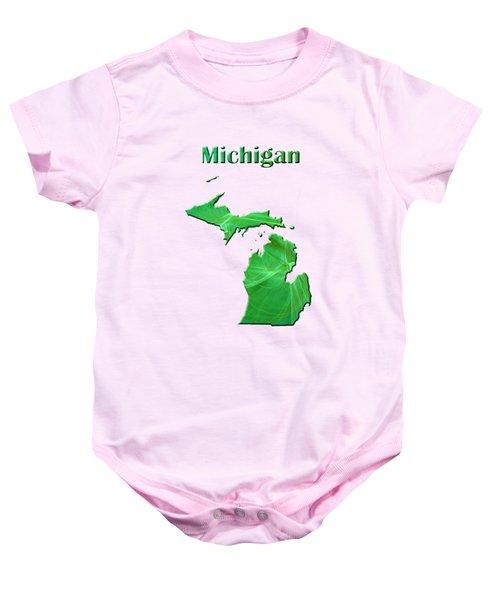Michigan Map Baby Onesie by Roger Wedegis