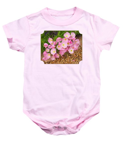 Pretty Pink Rock Roses In The Rain Baby Onesie by Gill Billington