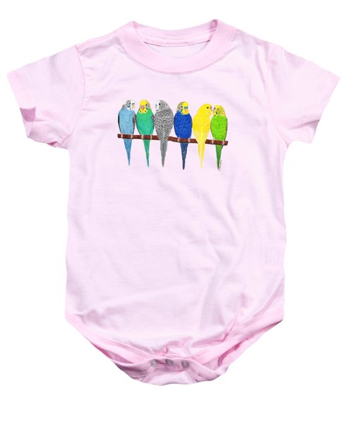 Six Parakeets Baby Onesie by Rita Palmer