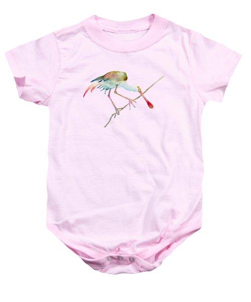 Spoonbill  Baby Onesie by Amy Kirkpatrick