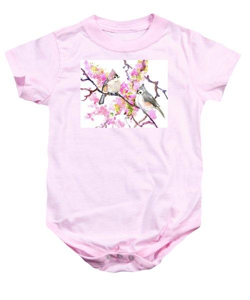 Titmice And Cheery Blossom Baby Onesie by Suren Nersisyan
