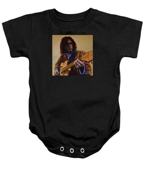Neil Young Painting Baby Onesie by Paul Meijering