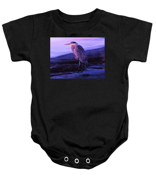A Heron On The Moyie River Baby Onesie by Jeff Swan