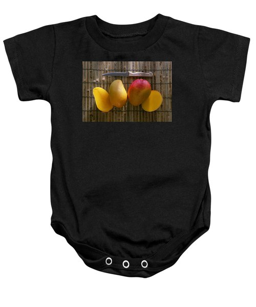 Agriculture - Sliced Sunrise Mango Baby Onesie by Daniel Hurst