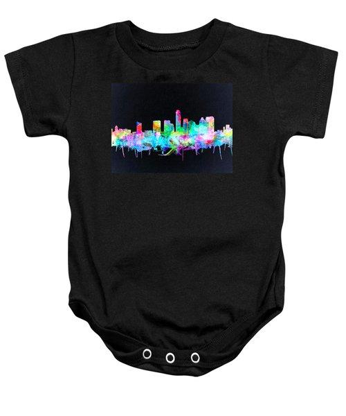 Austin Texas Skyline Watercolor 3 Baby Onesie by Bekim Art