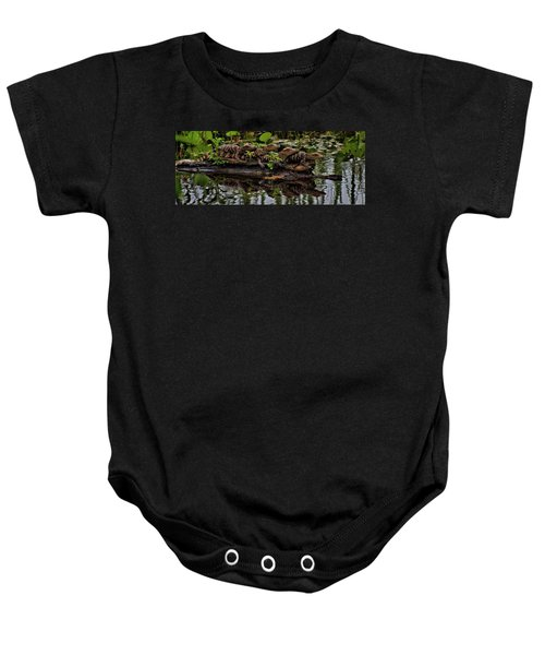 Baby Alligators Reflection Baby Onesie by Dan Sproul