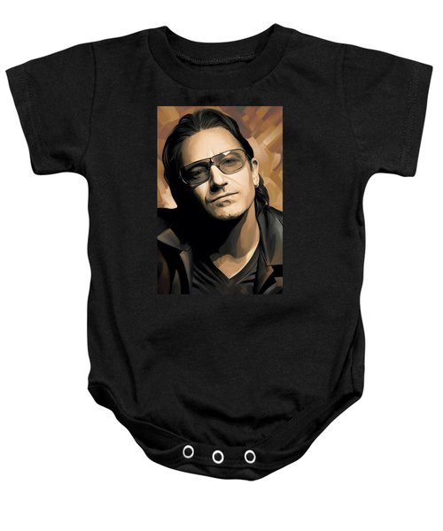 Bono U2 Artwork 2 Baby Onesie by Sheraz A