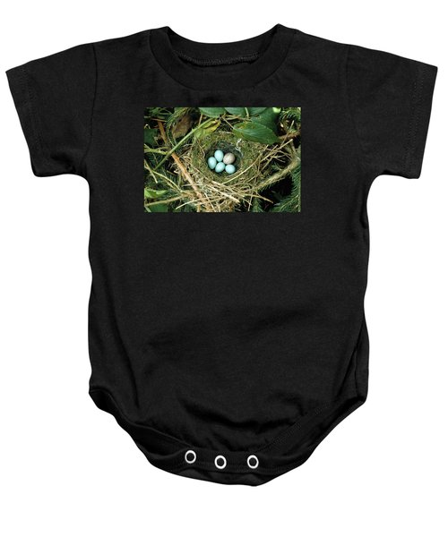 Common Cuckoo Cuculus Canorus Egg Laid Baby Onesie by Jean Hall