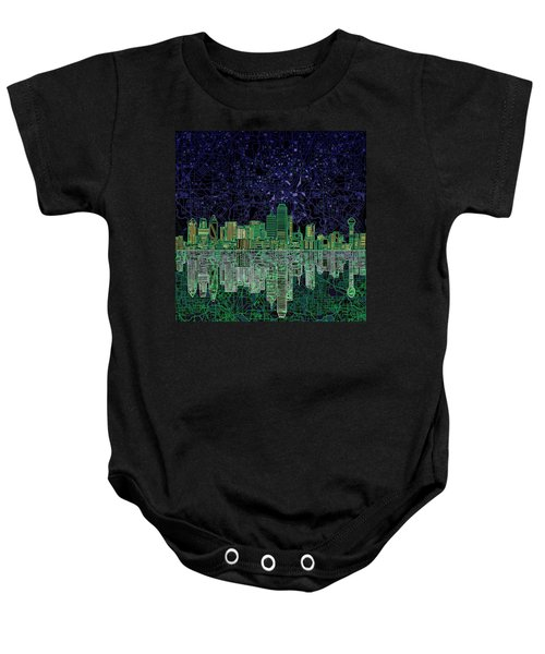 Dallas Skyline Abstract 4 Baby Onesie by Bekim Art