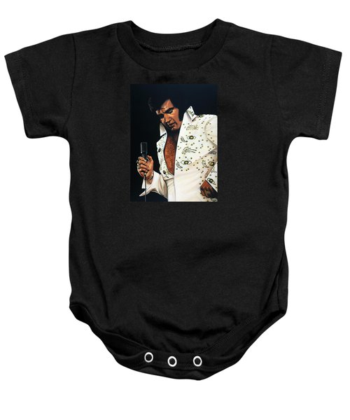 Elvis Presley Painting Baby Onesie by Paul Meijering