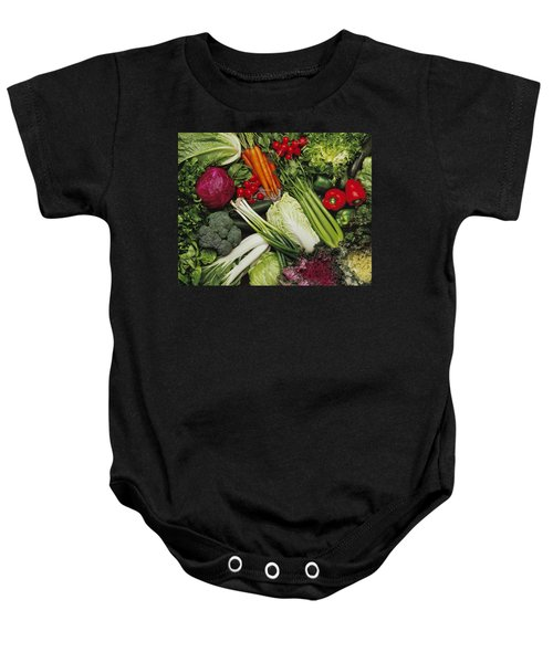 Food- Produce, Mixed Vegetables Baby Onesie by Ed Young
