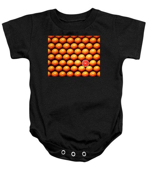 Grapefruit Slice Between Group Baby Onesie by Johan Swanepoel