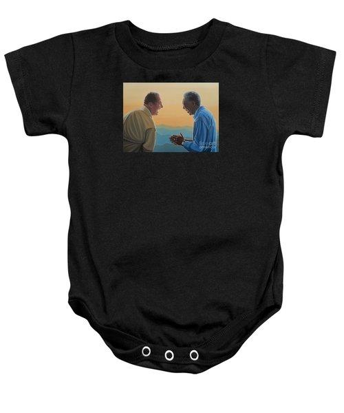 Jack Nicholson And Morgan Freeman Baby Onesie by Paul Meijering