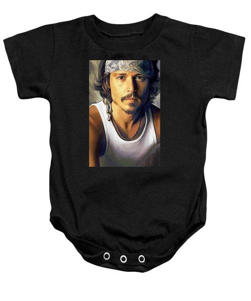 Johnny Depp Artwork Baby Onesie by Sheraz A