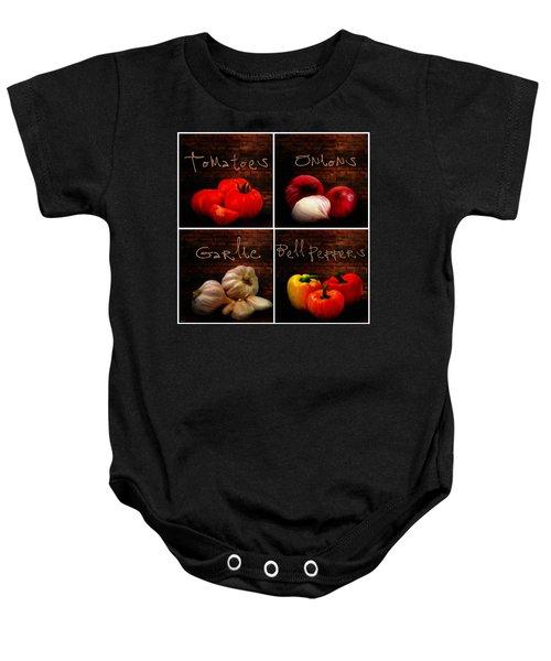 Kitchen Ingredients Collage II Baby Onesie by Lourry Legarde