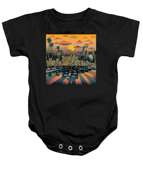 Los Angeles Skyline Abstract 2 Baby Onesie by Bekim Art
