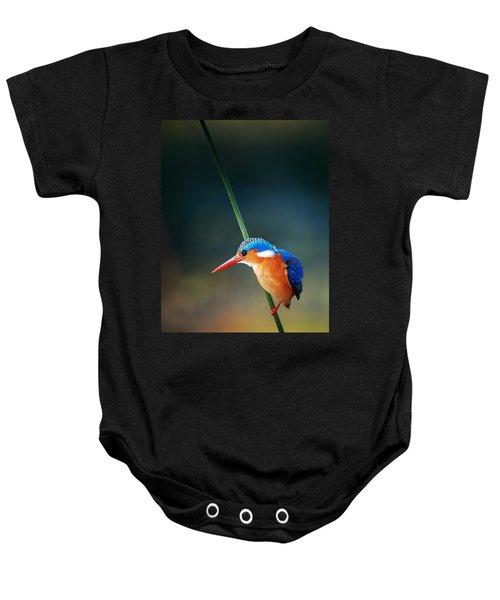 Malachite Kingfisher Baby Onesie by Johan Swanepoel