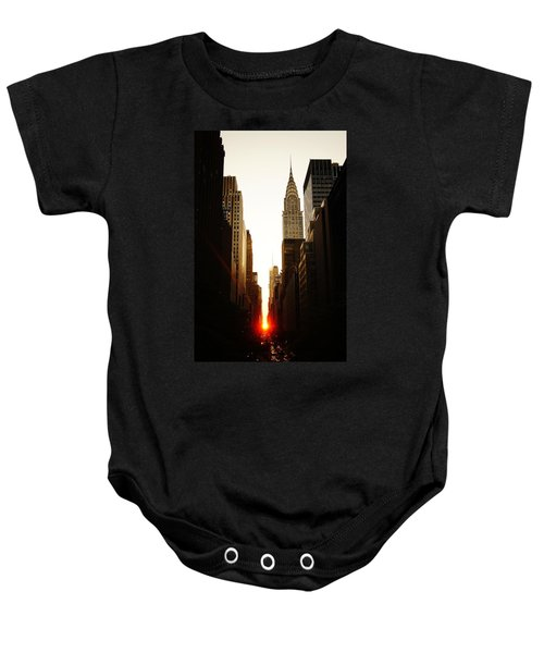 Manhattanhenge Sunset And The Chrysler Building  Baby Onesie by Vivienne Gucwa
