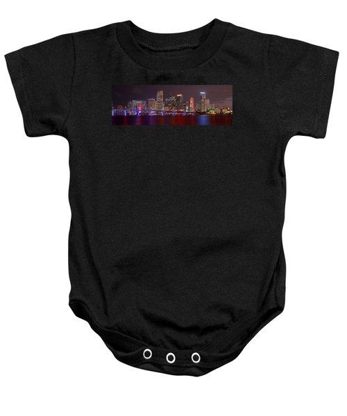 Miami Skyline At Night Panorama Color Baby Onesie by Jon Holiday
