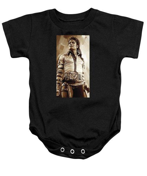Michael Jackson Artwork 2 Baby Onesie by Sheraz A