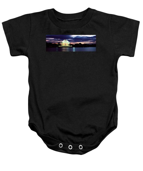 Monument Lit Up At Dusk, Jefferson Baby Onesie by Panoramic Images