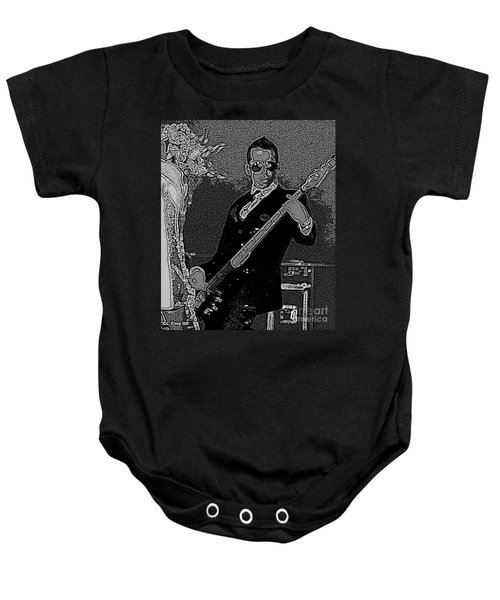 Bass Player Art Bw Baby Onesie by Lesa Fine